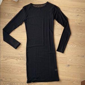 American Apparel Black Mesh Long Sleeve Dress